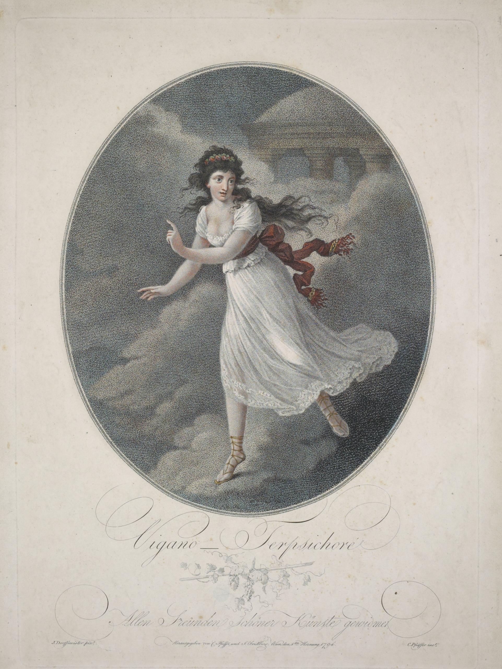 Eighteenth century Illustration of dancer Maria Vigano as Therpsichore, dressed in white, in Mount Olympus