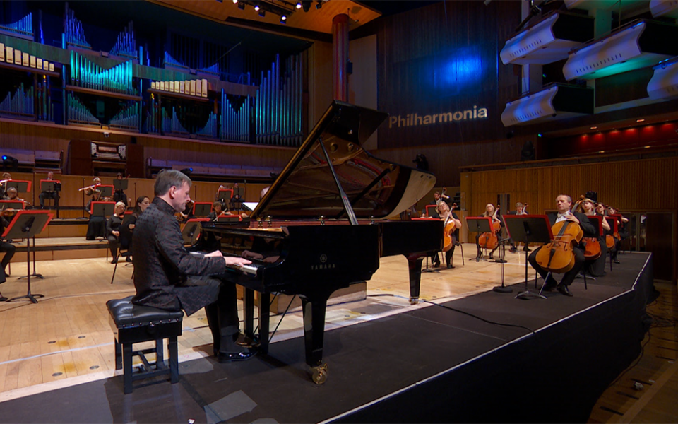 Stephen Hough on stage at the Royal Festival Hall with the Philharmonia Orchestra